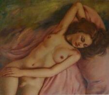 erotisches Bild Akt & Erotik Ölgemälde signiert liegender Frauen - Akt Malerei