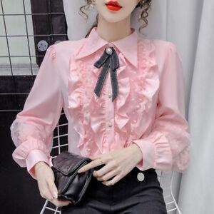 Women Chiffon Blouse Lace Ruffle Frill Bowtie Shirt Top Lolita Fairy Princess