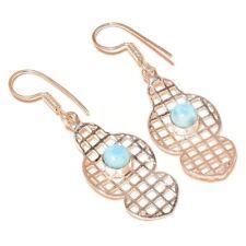 Caribbean Larimar Circle Gemstone silver plated Handmade Bezel Filigree Earrings