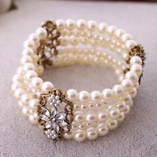 Stunning Pearl Bracelet Multi Layer Gatsby 1920s Costume Bridal Stretch - Sexy