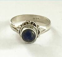 Sterling Silver Ethnic Asian Handmade Vintage Style Lapis Stone Ring Size L Gift