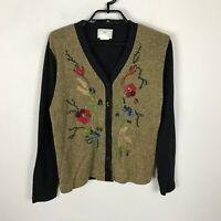 Susan Bristol Cardigan Sweater Size M Gold Black Floral Acrylic Wool