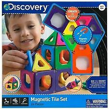Discovery Kids 24 Pieces Magnetic Tiles Set Building Educational Learning Toy