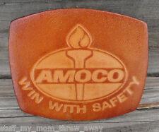 Amoco Oil Belt Buckle Win With Safety Leather Vintage 1980s El Cid Gas