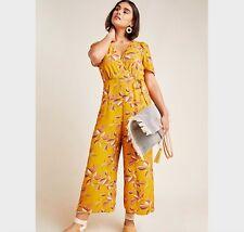 Size Small Anthropologie Lisette Wide Leg Jumpsuit Marigold Print Women's