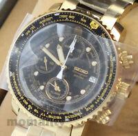 SEIKO QUARTZ Chronograph SNA414PC SNA414P1 Pilot Black Gold Men's Watch