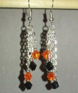 Handmade 3 Tier Chain Fall/Halloween Fishhook Earrings #H18