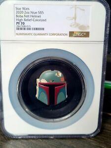 PF70 Star Wars Boba Fett Colorized Helmet 2oz Ultra High Relief   serial #4