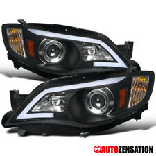 For 2008-2011 Subaru Impreza WRX LED DRL Bar Black Projector Headlights Lamps