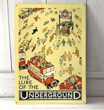 Vintage el señuelo de el metro de Londres signo A4 Placa De Metal Shabby Chic