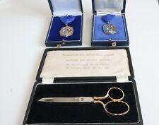 Vintage GARRARD Silver Enamel Councillor Medals &  presentation Scissor