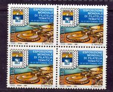 """1992 Esposizione Mondiale Filatelia Tematica """"Genova 92"""" 2 Quartine perfette++++"""