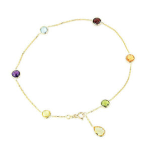 14K Yellow Gold Gemstone Anklet With A Lemon Topaz Pear Shape Drop 9 Inches