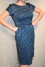 S~M Blue Black Metallic Floral Vtg 50s Double Pencil Skirt Cocktail Party Dress