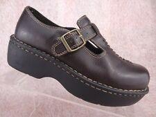 aedaca061403 Vtg 90s American Eagle Brown Chunky Heel T-Strap Mary Jane Vegan Platform  Shoe 6