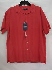 Cremieux L Large Berry Garment Dyed Button-Front Short Sleeve New Mens Shirt