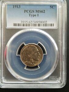 1913 Type 1 Buffalo Nickel * PCGS MS62 *