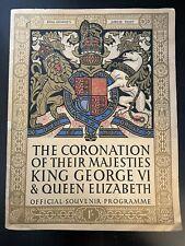 1937 Souvenir Program Coronation Of King George VI & Queen Elizabeth Decent
