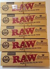 Lot of 5 Booklets Raw Natural Unrefined Rolling Papers King Size+Pre Rolled Tips