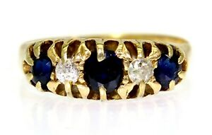 Splendid Edwardian Sapphire & Diamond 18ct Yellow Gold Gypsy Ring size K ~ 5 1/4