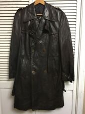 Vintage Cortfiel Brown Leather Double Breasted Trench Coat Men's 40