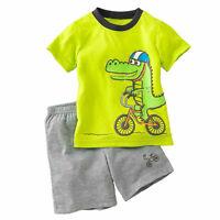 Boy Kids Dinasaur Pyjamas Short Sleeve T-Shirt Summer Shorts Clothes Outfit Set
