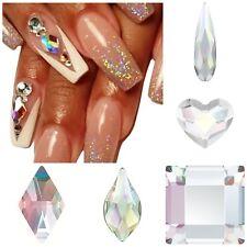 Swarovski x 20 Mixed Shapes AB GLUE ON Crystals Flame Raindrop Heart Nail Art
