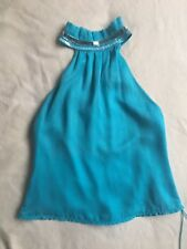 Jenny Packham turquoise blue silk open back top with sequins and beads UK10