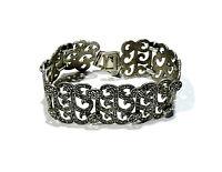 Bijou  bracelet manchette filigranée argent 925 détails marcassites bangle