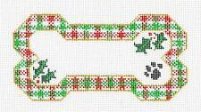 *NEW* Christmas Plaid Dog Bone w/ Paw Print HP Needlepoint Ornament Danji