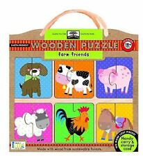 Green Start Wooden Puzzles: Farm Friends - Earth Friend Puzzles with Handy Carr