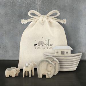 East of India Mini Noahs Ark Wooden Set in Cotton Gift Bag
