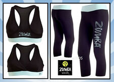 ZUMBA Galaxy Capri Leggings + V Bra Top-Black/Baby Blue-Yoga Cycle Run 2Pc.Set!