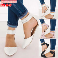 Womens Casual Sandals Ankle Strap Pointed Toe Flat Buckle Slip On Flats Shoes