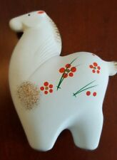 """Vtg 4 1/2"""" Japanese Clay Pottery White Horse Lucky Hand painted"""