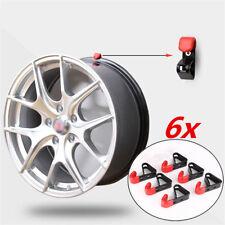6x Metal Car Wheel Rim Hook Wall Hanger Rubber Tip Garage Exhibition Accessories