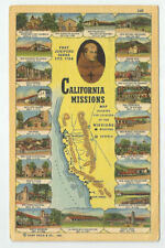 California Missions Map Showing the Locations Postcard 1948 Vintage Chapels CA