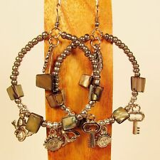 "2"" Silver Color Single Hoop Faux Silver Charm Handmade Seed Bead Hook Earrings"