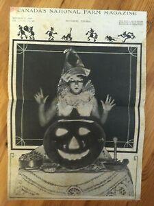 1937 CANADIAN CANADA MAGAZINE COVER HALLOWEEN SCARY PUMPKIN JACK O LANTERN