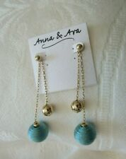 "NWT WOMEN ANNA & AVA  3 3/4"" DOUBLE CHAIN.. GOLD/TURQUOISE  DANGLE/DROP EARRINGS"