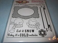 Darcie's JCS251 Cling Mounted Rubber Stamp Set Snowman, Frame, Penquin,