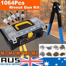 1064Pcs Threaded Nut Rivet Tool Riveter Rivnut Nutsert Gun Riveting Kit M3-M8