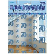 Blue Glitz 70th Birthday Hanging Decorations Pack 6 5ft Strands Unique Party
