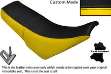 BLACK & YELLOW CUSTOM FITS SUZUKI TS 125 R LEATHER DUAL SEAT COVER ONLY