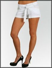 Womans Hot pant shorts Club Sexy White rhinestone button pearl embellishment