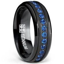 Black Titanium Men's Eternity Ring Band With Deep Blue Cubic Zirconia CZ NEW*