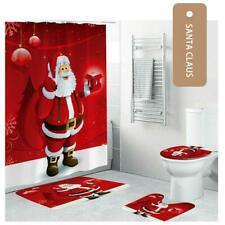 Christmas Shower Curtain Bathroom Toilet Seat Cover Set Xmas Ornament Home Decor