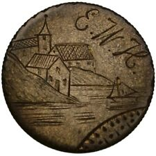 "LOVE TOKEN ""Seaside with Sailboat/E–W–H"" engraved on 1890 Seated Liberty Dime"