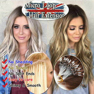 """14""""-26"""" Micro Ring Easy Loop Beads Indian Remy Human Hair Extensions 100s UK"""