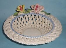ITALIAN MAJOLICA Art Pottery BASKET WEAVE Ceramic FLOWERS BERRIES VEGETABLE BOWL